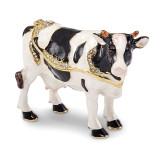 By Jere Black White Cow Trinket Box Enamel on Pewter, MPN:  BJ3077, UPC: 191101036927