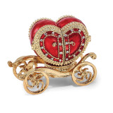 By Jere Heart Carriage Ring Holder Trinket Box Enamel on Pewter, MPN:  BJ3082, UPC: 191101036781