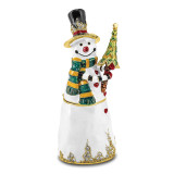 By Jere Friendly Snowman with Tree Trinket Box Crystal Enameled on Pewter, MPN:  BJ4029, UPC: