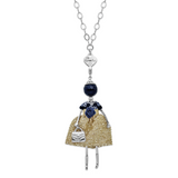 By Jere Blue Jade Golden Dress Doll Charm with Chain Le Amiche Silver-tone, MPN:  JDN117-31, UPC: