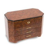 By Jere Burlwood Ebony with 3 Drawers Jewelry Box, MPN:  JJB113, UPC: 191101037009