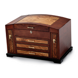 By Jere Bubinga Veneer with Elm Burl Inlay 3 Drawer with Slide-out Sides Jewelry Box, MPN:  JJB721, UPC: 191101682070