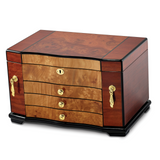 By Jere Bubinga with Elm Burl Inlay 3 Drawer with Swing-out Sides Jewelry Box, MPN:  JJB752, UPC: 191101682087