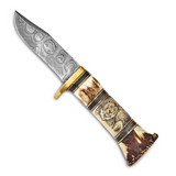 By Jere Blade Lion Elephant Scrimshaw Handle Knife Damascus Steel 256 Layer Fixed, MPN:  KN6070, UPC:
