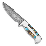 By Jere Blade Turquoise AbaloneShell Obsidian Handle Damascus Steel 256 Layer Fixed, MPN:  KN6263, UPC: