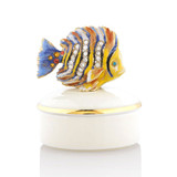 Jay Strongwater Finley Fish Round Porcelain Box Great Gifts MPN: SDH7384-239