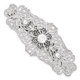2072 Boutique Jewelry Fashion White Crystal Filigree Large Barrette Silver-tone BF2417