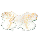 Annieglass Butterfly Gold 18 x 14 Inch Chip & Dip Server , MPN: B200G