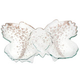 Annieglass Butterfly Platinum 18 x 14 Inch Chip & Dip Server , MPN: B200P