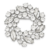 2093 Boutique Jewelry Fashion White Crystal Wreath Brooch Silver-tone BF2446