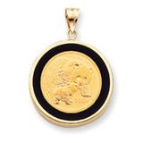 1/4Oz Mounted Panda Coin Polished Open-Backed Onyx Bezel 14k Gold, MPN: BP57_4PC, UPC: 883957047706