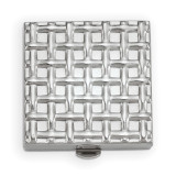 Basketweave 1-Section Pillbox with Mirror Silver-tone, MPN: GM16804, UPC: 788089018757