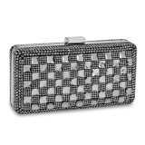 Black Checkerboard Crystal Evening Bag with Chain, MPN: GM16952, UPC: 788089137922
