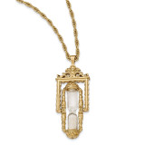 2195 Boutique Jewelry Fashion Glass & Sand Workable Hourglass Pendant Necklace Gold-tone BF2658