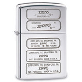 Zippo Stamps High Polish Chrome Luster Lighter, MPN: GM17876, UPC: 41689283810