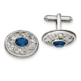 2245 Boutique Jewelry Fashion Blue Crystal Textured Oval Cufflinks Silver-tone BF2742
