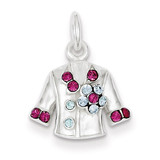 Crystal Jacket Charm Sterling Silver, MPN: QC4659, UPC: 883957911373