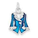 Blue Enameled and Crystal Jacket Charm Sterling Silver, MPN: QC4660, UPC: 883957911380