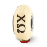 Ivory Hand Painted Chi Omega Fenton Glass Bead Sterling Silver, MPN: QRS3671, UPC: 19727646163
