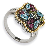 1.59Tw Multi Gemstone Ring Sterling Silver & 14k Gold, MPN: QTC329, UPC: 883957502571