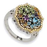 1.43Tw Multi Gemstone Ring Sterling Silver & 14k Gold, MPN: QTC332, UPC: 883957503059