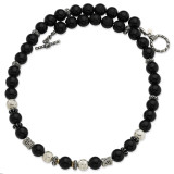 10.5mm Onyx & Enameled Beaded 20 Inch Necklace Sterling Silver & 14k Gold, MPN: QTC524, UPC: 685146723664
