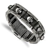 Chisel Antiqued Skull Black Leather Bracelet Stainless Steel Brushed, MPN: SRB2264-9