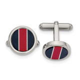 Chisel BlackCarbon & Red/White FiberGlass Inlay Cufflinks Stainless Steel Polished, MPN: SRC406