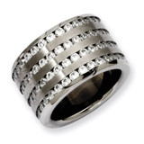 Chisel Multirow 13mm Synthetic Diamond Ring - Stainless Steel SR142
