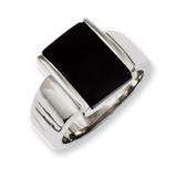 Chisel Black Glass Ring - Stainless Steel SR228