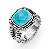 Chisel Antiqued Imitation Turquoise Ring - Stainless Steel SR270