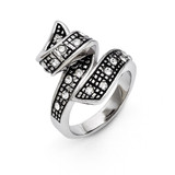 Chisel Crystal Antiqued Swirl Ring - Stainless Steel SR273
