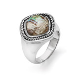 Chisel Antiqued and Polished Synthetic Abalone Ring - Stainless Steel SR356