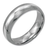 Chisel Sterling Silver Inlay 6mm Polished Band - Stainless Steel SR37