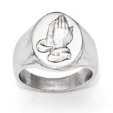 Chisel Polished with Sterling Silver Praying Hands Ring - Stainless Steel SR472