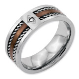 Chisel Brushed Chocolate IP-plated with Diamond 8mm Polished Band - Stainless Steel SR50