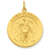 24k Gold-plated Saint Florian Medal Sterling Silver MPN: QC5669 UPC: