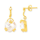 1 micron Gold Plated clear CZ Post Earrings Sterling Silver MPN: QE6031M UPC: 883957214696