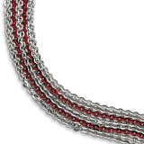 Rhodium & Red Plated Multi Strand Bracelet Sterling Silver MPN: QH5107-7.5 UPC: