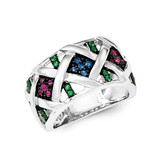 Synthetic Ruby& Synthetic Blue & Green Spinel Ring Sterling Silver MPN: QR6309-6 UPC: