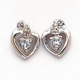 .01ct Diamond & White Topaz Birthstone Heart Earrings 14K White Gold  MPN: XBS202 UPC: