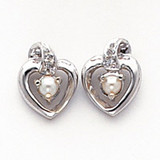 .01ct Diamond & FW Cultured Pearl Birthstone Heart Ear 14K White Gold  MPN: XBS204 UPC: