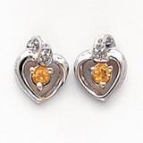 .01ct Diamond & Citrine Birthstone Heart Earrings 14K White Gold  MPN: XBS219 UPC: