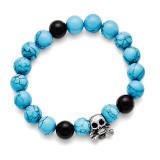 Chisel Antiqued Skull with Imitation Turquoise Black Onyx Bracelet - Stainless Steel SRB1588