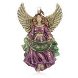 Jay Strongwater Joy to the World Angel Glass Ornament, MPN: SDH2243-250