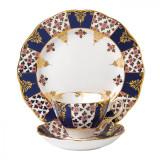 Royal Albert 100 Years 1900 3-Piece Set Teacup Saucer & Plate 8 Inch Regency Blue MPN: 40017566 UPC: 701587269421