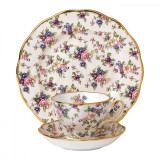 Royal Albert 100 Years 1940 3-Piece Set Teacup Saucer & Plate 8 Inch English Chintz MPN: 40017568 UPC: 701587269445