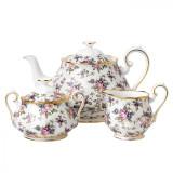 Royal Albert 100 Years 1940 3-Piece Set Teapot Sugar & Creamer English Chintz MPN: 40017572 UPC: 701587269483