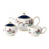Wedgwood Wonderlust 3-Piece Tea Set s/s (Teapot, sugar & Creamer) Blue Pagoda  MPN: 40031717, UPC: 701587380478