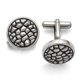 Chisel Antiqued and Textured Cufflinks - Stainless Steel SRC255